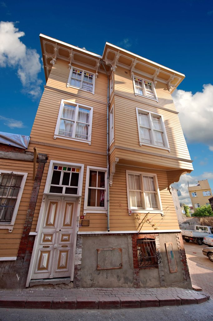 Stock Photo: 1566-1220924 19th century historic Ottoman houses of So ukçe me Soka   Street of the Cold Fountain built against the outer wall of the Topkapi Palace once the villas of high officials of the Sultan  Sultanahmet neighborhood Istanbul Turkey