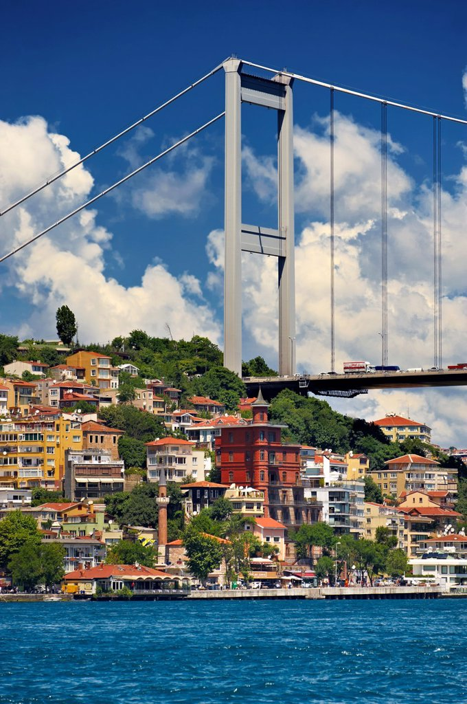 Stock Photo: 1566-1220931 The Fatih Sultan Mehmet Bridge, also known as the Second Bosphorus Bridge Istanbul Turkey