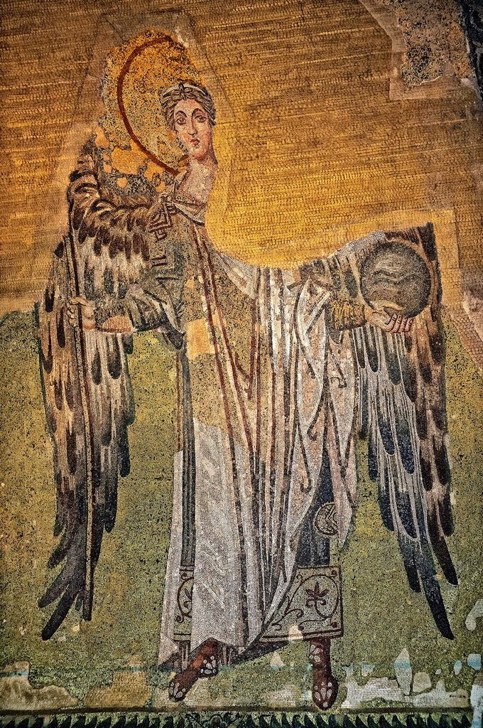 Stock Photo: 1566-1220932 Byzantine Mosaic of an Angel, Hagia, Sophia, Istanbul, Turkey