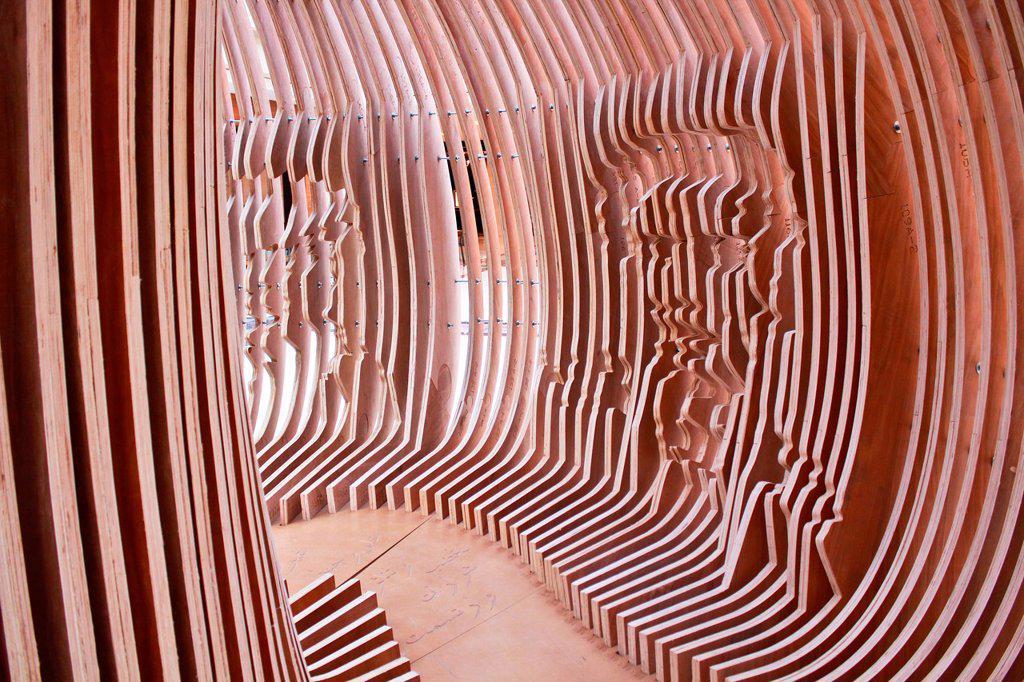 modern wood Sculpture, Kuwait : Stock Photo