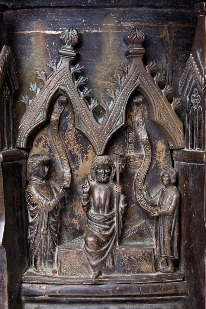 Stock Photo: 1566-1221319 Baptismal Font, Resurrection of Jesus Christ, Kilian Cathedral, Würzburg, Bavaria, Germany