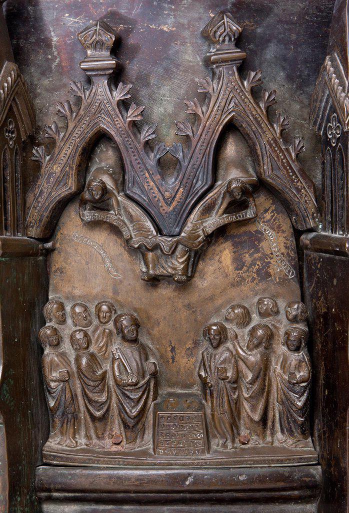 Font, Ascension of Jesus Christ, Kilian Cathedral, Würzburg, Bavaria, Germany : Stock Photo