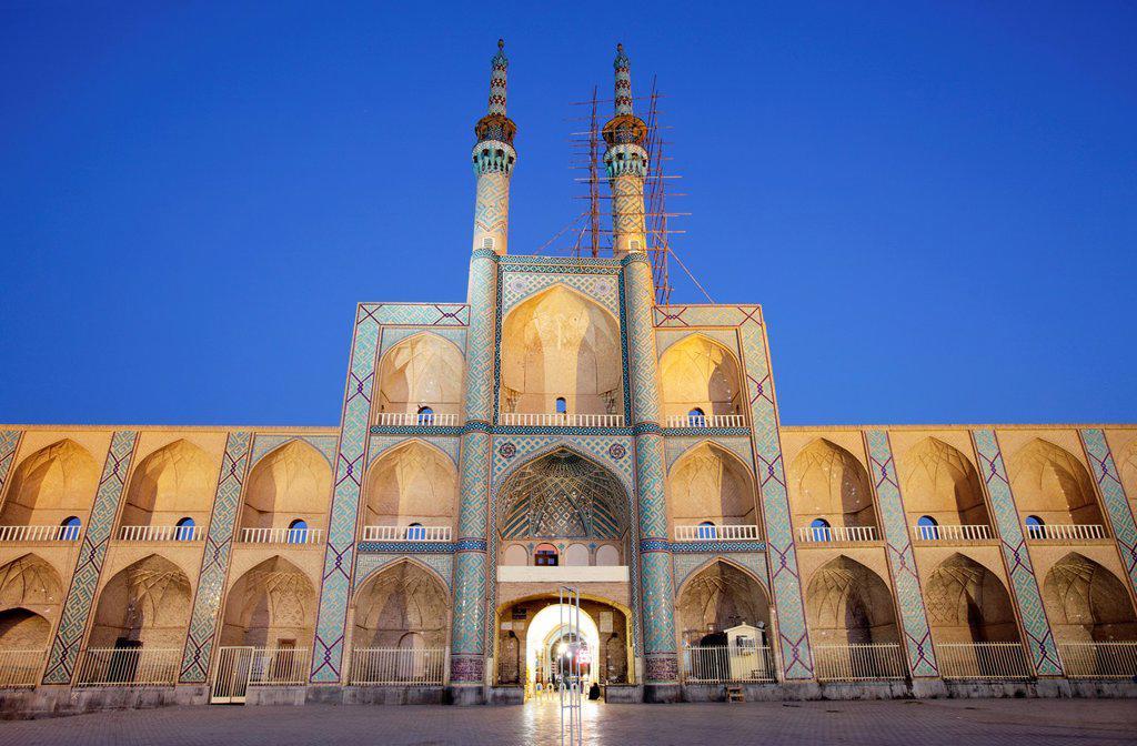 Stock Photo: 1566-1221540 Amir Chakhmaq complex at dusk, Yazd, Iran
