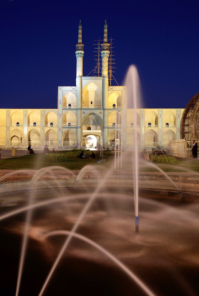 Stock Photo: 1566-1221542 Amir Chakhmaq complex at dusk, Yazd, Iran