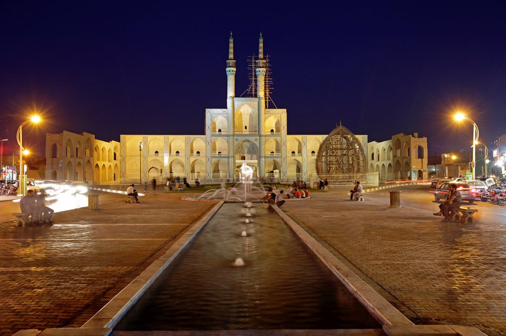 Stock Photo: 1566-1221543 Amir Chakhmaq complex at dusk, Yazd, Iran
