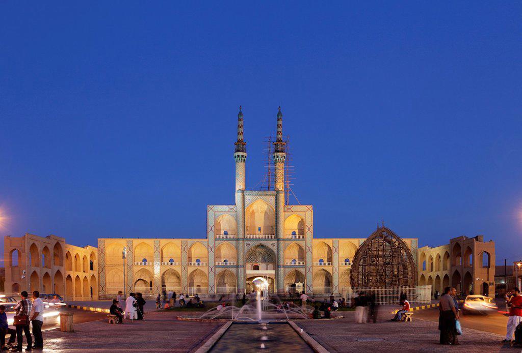 Amir Chakhmaq complex at dusk, Yazd, Iran : Stock Photo