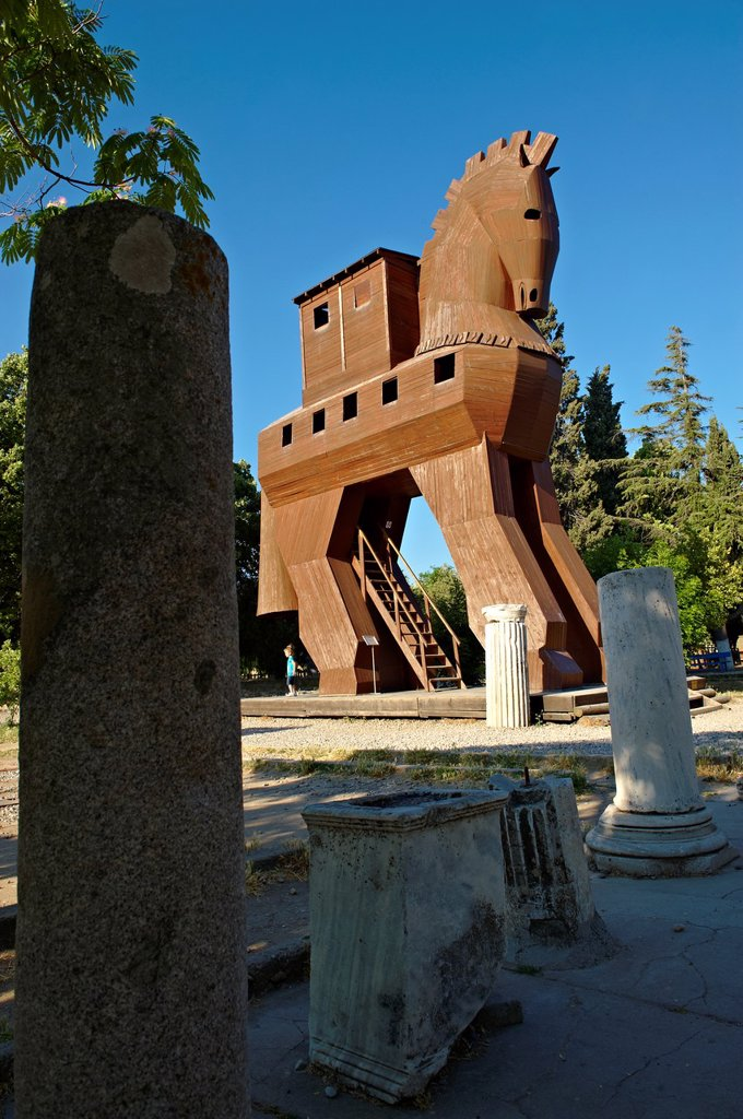 Replica of the wooden horse of Troy archaeological site, A UNESCO World Heritage Site, Turkey : Stock Photo