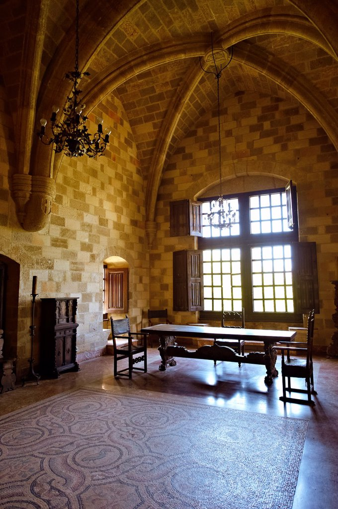 Interior rooms with hellanistic mosaic floors of the 14th century medieval palace of the Grand Master of the Kinights of St John, Rhodes, Greece  UNESCO World Heritage Site : Stock Photo