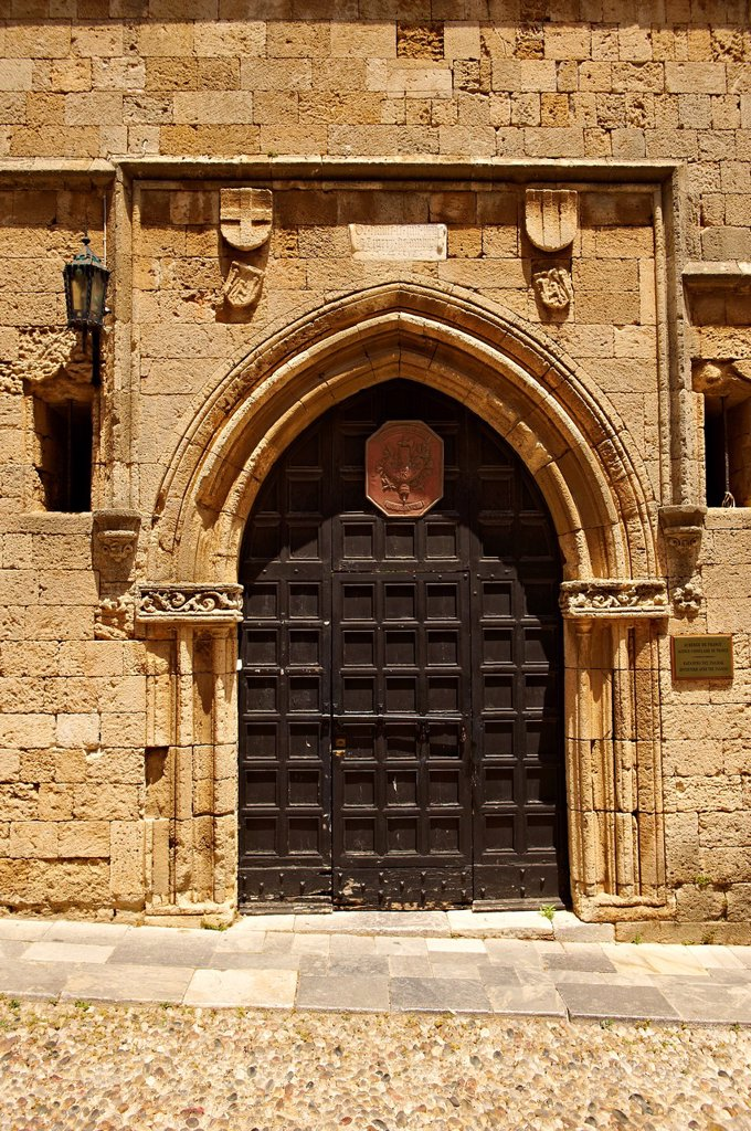 Stock Photo: 1566-1221764 Entrance to the French speaking lodge of Knights, today the French consulate, Rhodes, Greece, UNESCO World Heritage Site
