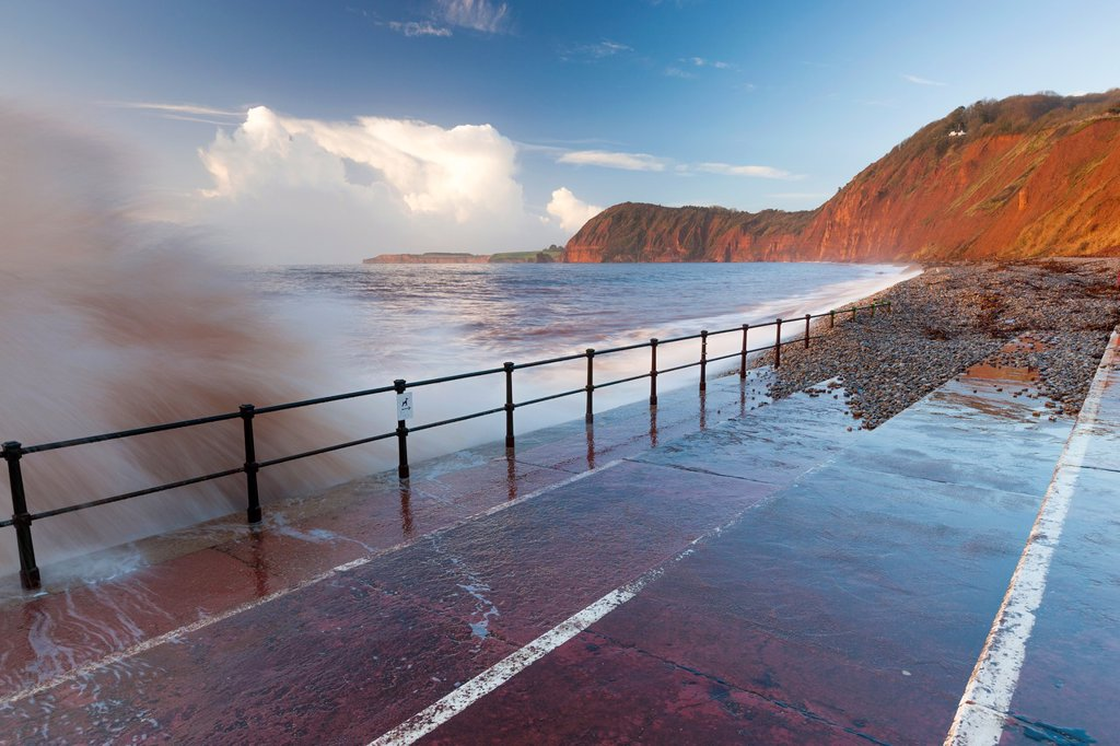 Stock Photo: 1566-1221883 Waves crashing against walkway in Sidmouth, Devon, England, United Kingdom, Europe