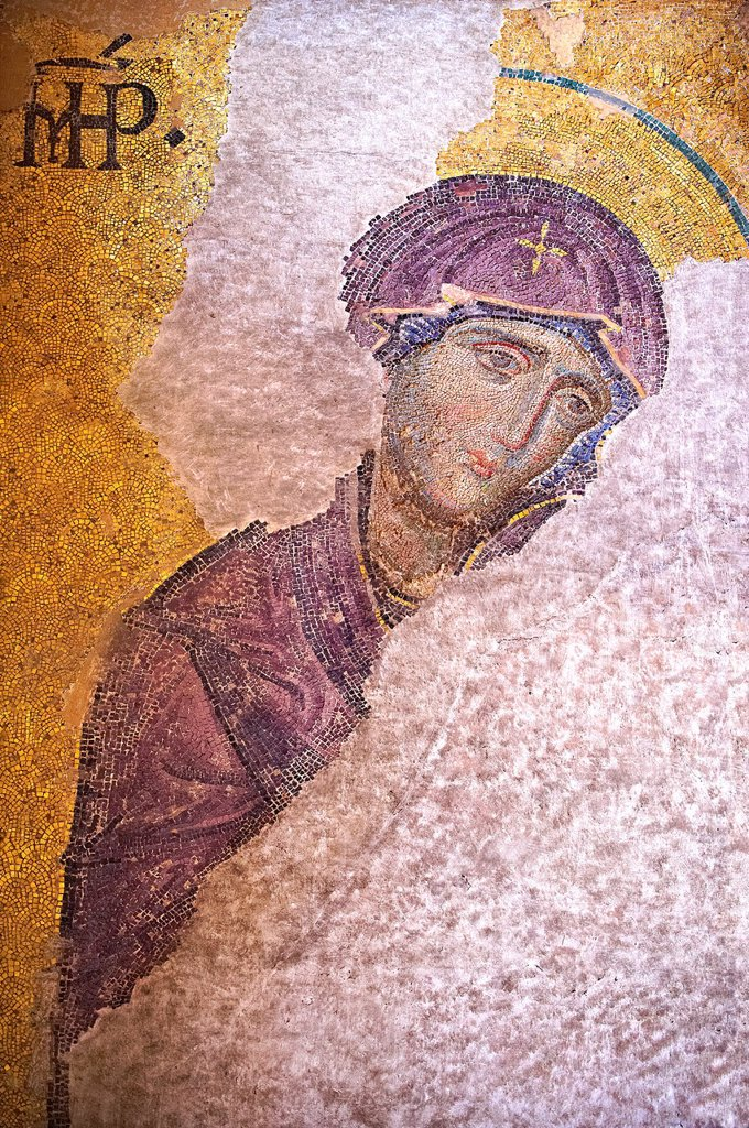Stock Photo: 1566-1222110 Byzantine Entreaty mosaic, 1261, in which John The Virgin Mary shown in three-quarters profile, are imploring the intercession of Christ Pantocrator for humanity on Judgment Day Hagia Sophia, Istanbul, Turkey