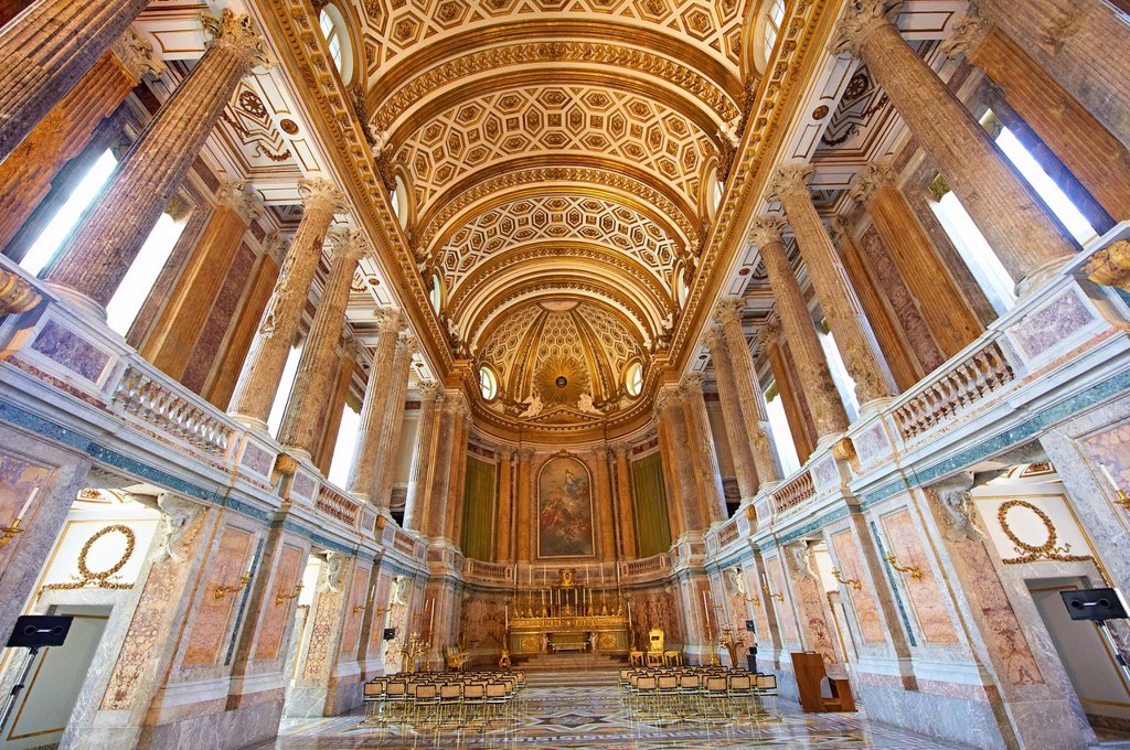 Stock Photo: 1566-1222165 The Baroque Chapel of the Bourbon Kings of Naples Royal Palace of Caserta, Italy