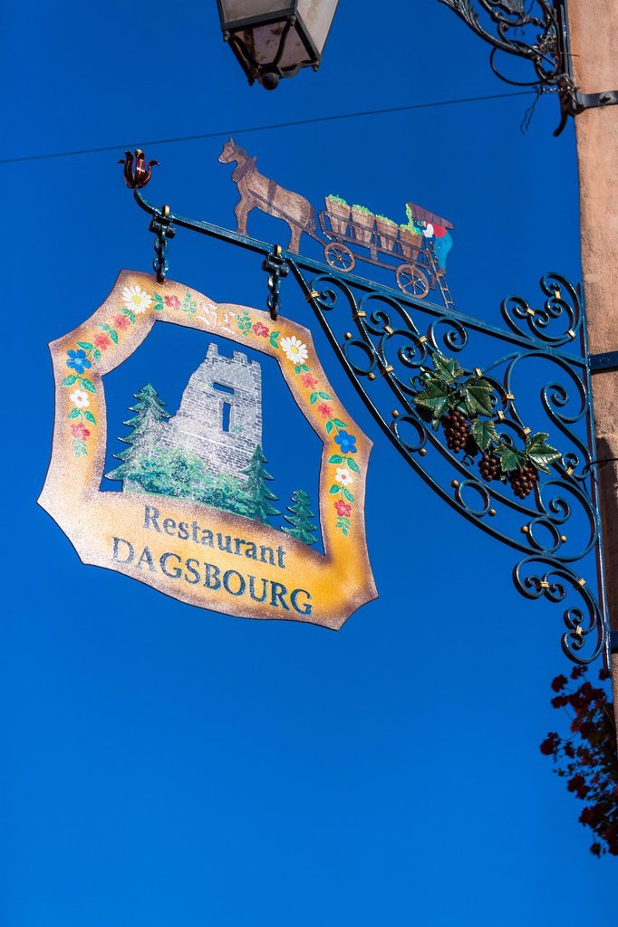 Close up of a restaurant sign in Alsace, France, Europe : Stock Photo