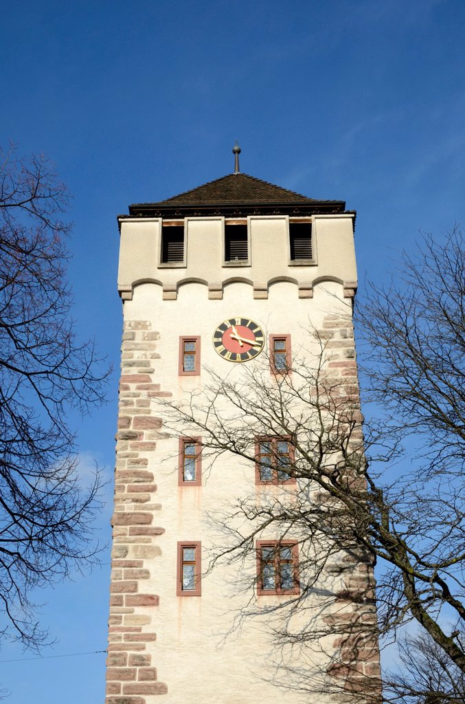 Sankt Johann Tor bell tower, Basel, Switzerland : Stock Photo