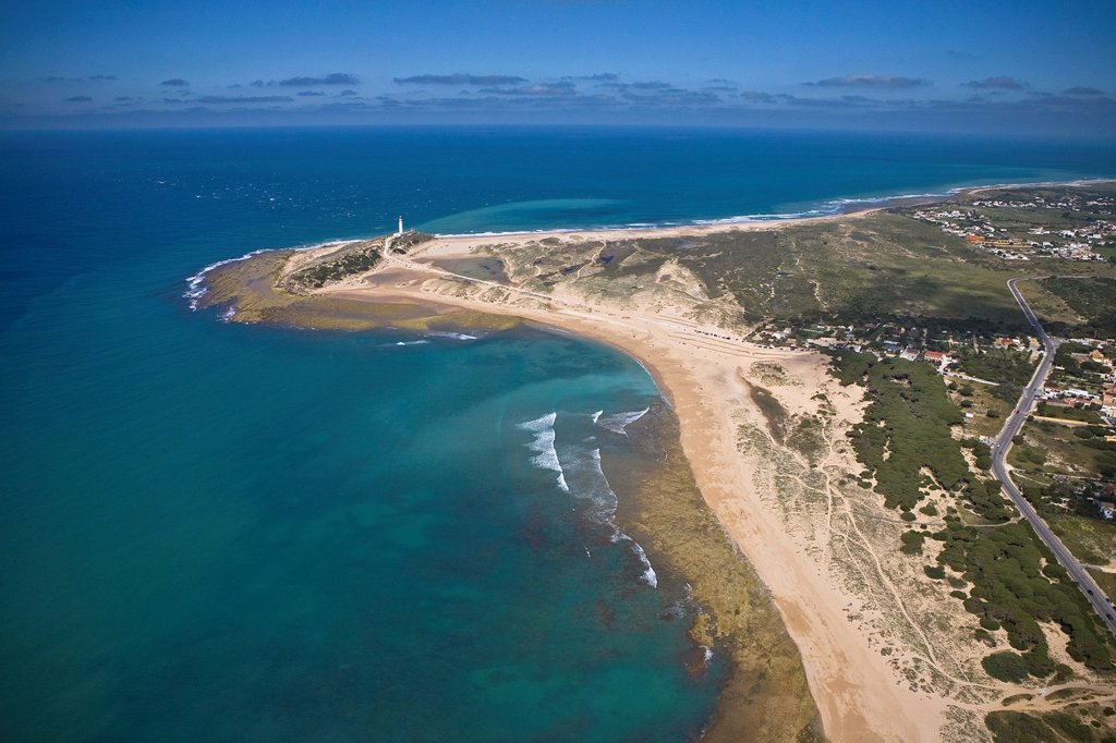 Stock Photo: 1566-1223497 Trafalgar´s lighthouse  Caños de Meca coast Cádiz Spain Aerial view.