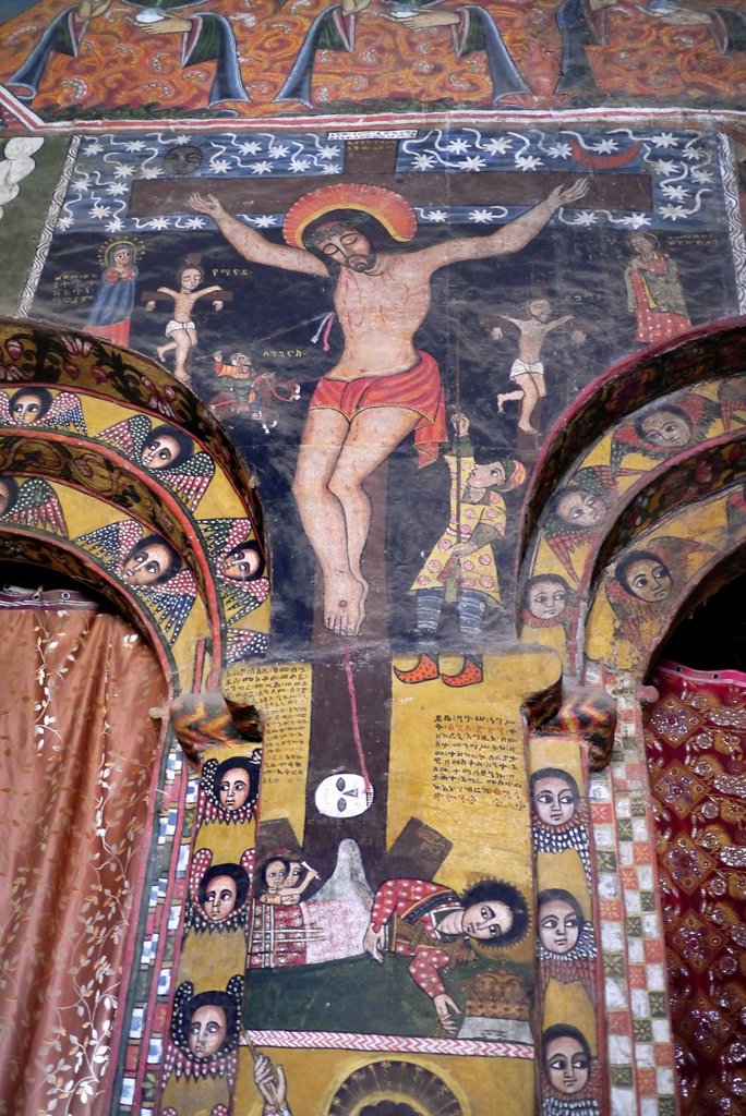 ETHIOPIA  Religious murals attributed to the 17th-century artist Haile Meskel, depictin crucifixion, Debre Berhan Selassie Church, Gonder : Stock Photo