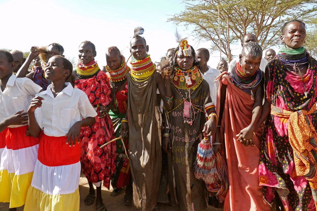 Stock Photo: 1566-1223891 KENYA  Turkana tribespeople dancing at the event of a confirmation ceremony in Lorugumu, Turkana   photo by Sean Sprague