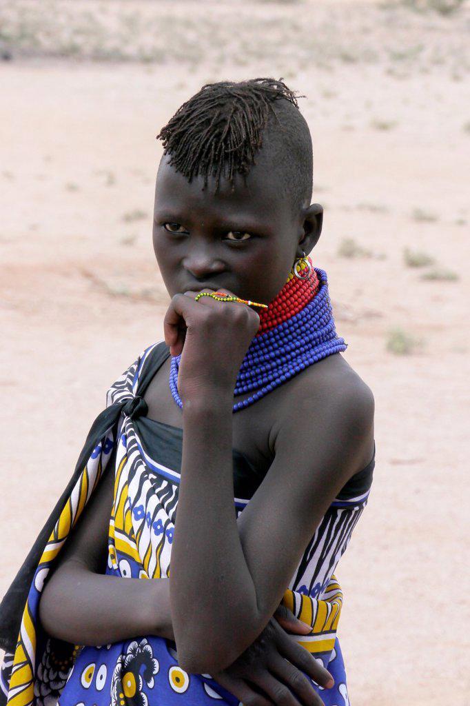 Stock Photo: 1566-1223912 KENYA  Young Turkana tribe beauty of Lorugumu, Turkana   photo by Sean Sprague