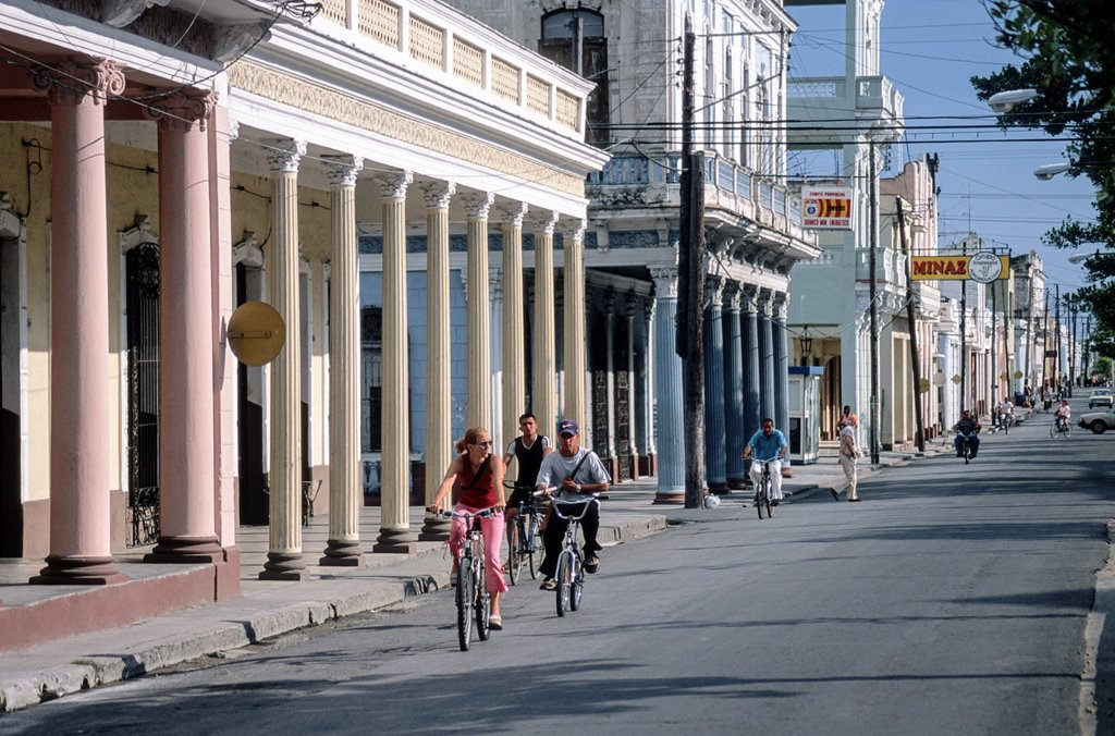 Main street in Cienfuegos, Cuba, Greater Antilles : Stock Photo