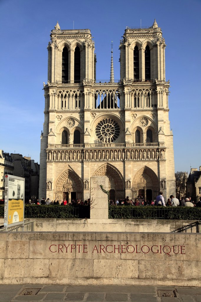 The archaeological crypt of Notre Dame with the bell towers of Notre Dame Cathedral in the background  Paris  France. : Stock Photo