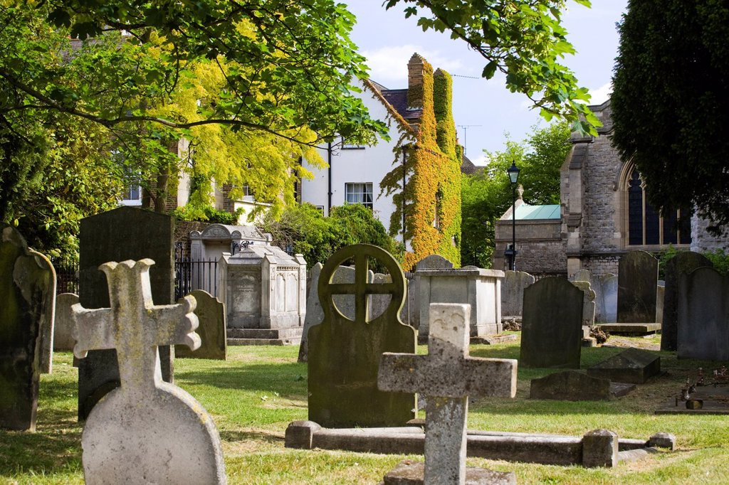 Stock Photo: 1566-1226486 Chiswick Parrish Church and cemetery, Chiswick, west London, England