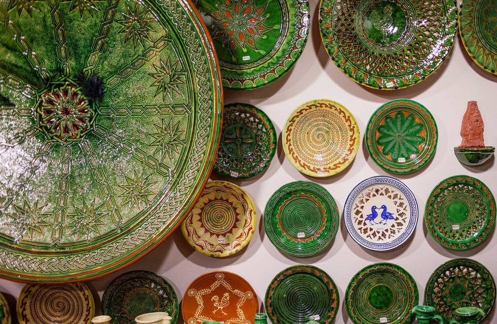 Stock Photo: 1566-1227063 Shop of Alfareria Pablo & Paco Tito,pottery,Calle Valencia 22,Ubeda, Andalusia, Spain