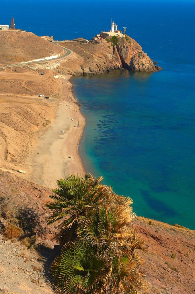 Cabo de Gata, Lighthouse, Cabo de Gata-Nijar Natural Park, Biosphere Reserve, Almeria, Spain, Europe : Stock Photo