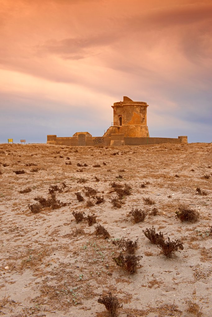 Stock Photo: 1566-1227719 Cabo de Gata, San Miguel de Cabo de Gata, Old military Watchtower, Beach, Cabo de Gata-Nijar Natural Park, Biosphere Reserve, Almeria, Spain, Europe
