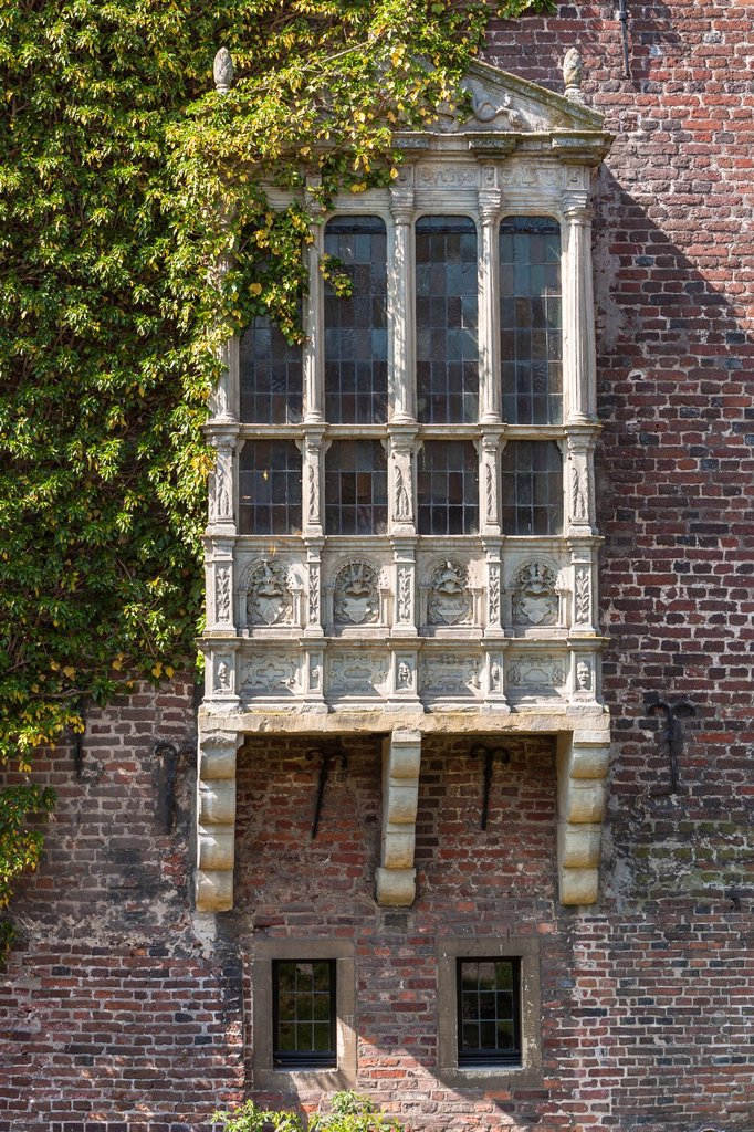 Stock Photo: 1566-1227760 Detail of a window of the moated castle of Raesfeld, North Rhine-Westphalia, Germany, Europe