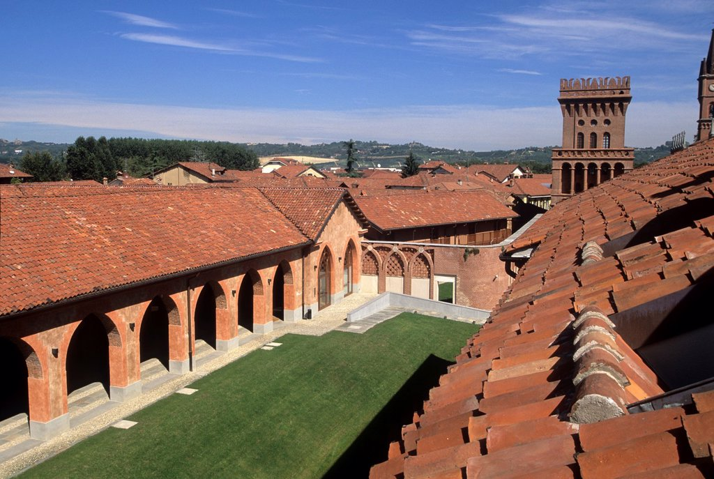 Stock Photo: 1566-1227863 restructured neo-Gothic country estate of King Carlo Alberto of Savoy and renovated 19th-century farm structures housing the University of Gastronomic Sciences, Pollenzo, Province of Cuneo, Piedmont region, Italy, Europe