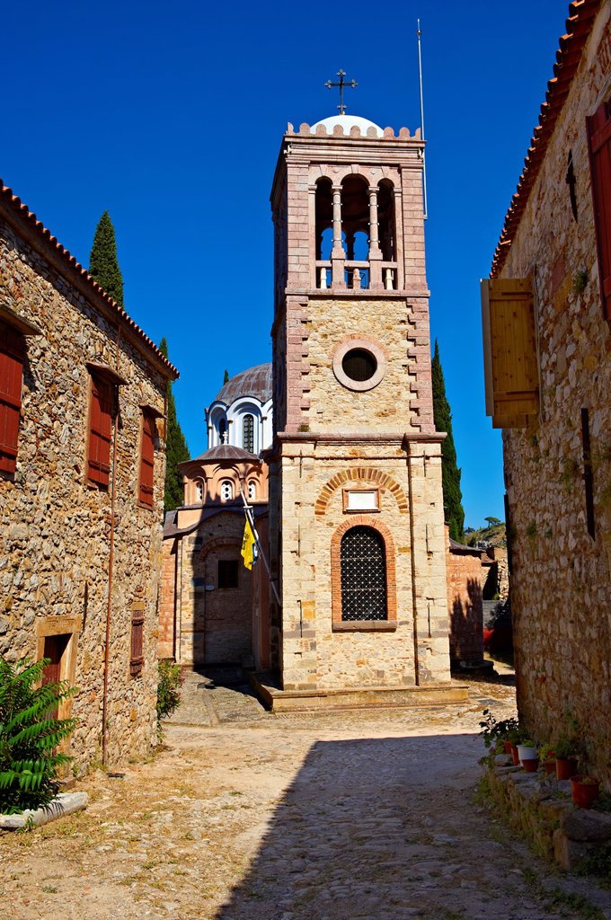 Stock Photo: 1566-1228068 The Byzantine of Nea Moni built by Constantine IX and Empress Zoe after the miraculous appearance of an Icon of the Virgin Mary at the site and inaugurated in 1049  Scene of a terrible sack and massacre of hundreds of Chiots and priests during the Ottoman sack of Chios in reprisal for the 1821 Greek War of Indipendance  Nea Moni monastery, Chios Island, Greece  A UNESCO World Heritage Site
