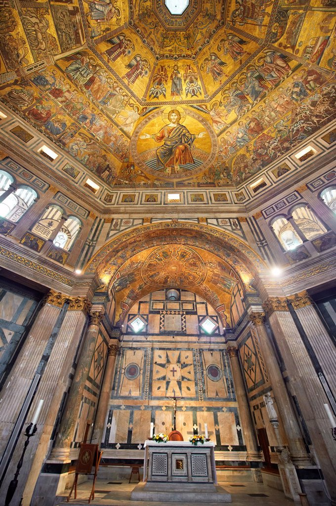 Stock Photo: 1566-1228084 The interior of the Bapistry of Florence Duomo  Battistero di San Giovanni  with the altar and medieval ceiling mosaics of Christ and the last judgement  Florence Italy