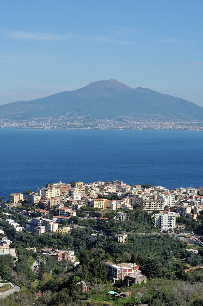 Stock Photo: 1566-1228760 Vico Equense  Italy  The small coastal town of Vico Equense overlooking the Bay of Naples & Mount Vesuvius Volcano