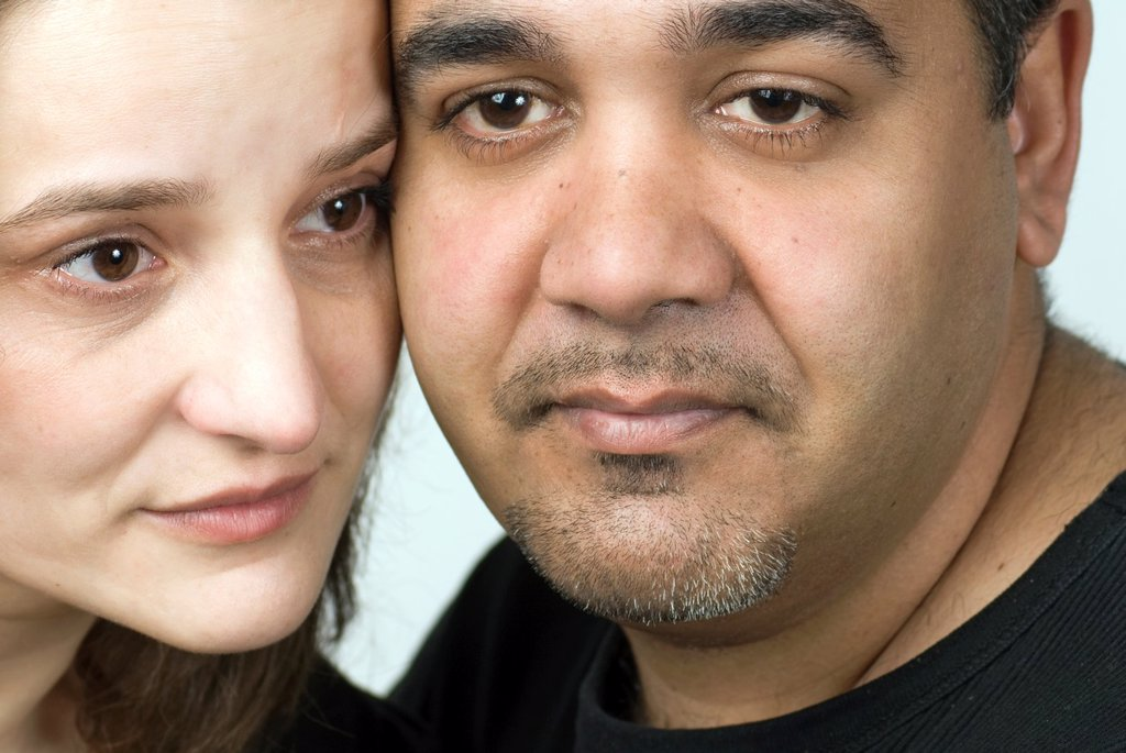 Stock Photo: 1566-1228798 Close-up of mature couple, their faces are touching each other´s