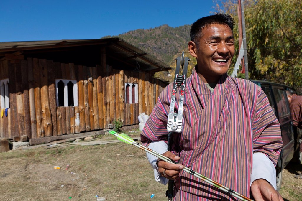 Stock Photo: 1566-1228933 Archery, Bhutan´s national sport, Paro, Bhutan, Asia.
