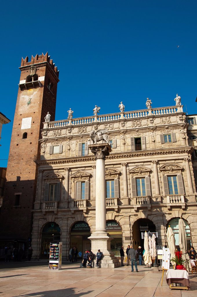 Stock Photo: 1566-1229349 Palazzo Maffei at Piazza delle Erbe square central Verona city the Veneto region northern Italy Europe
