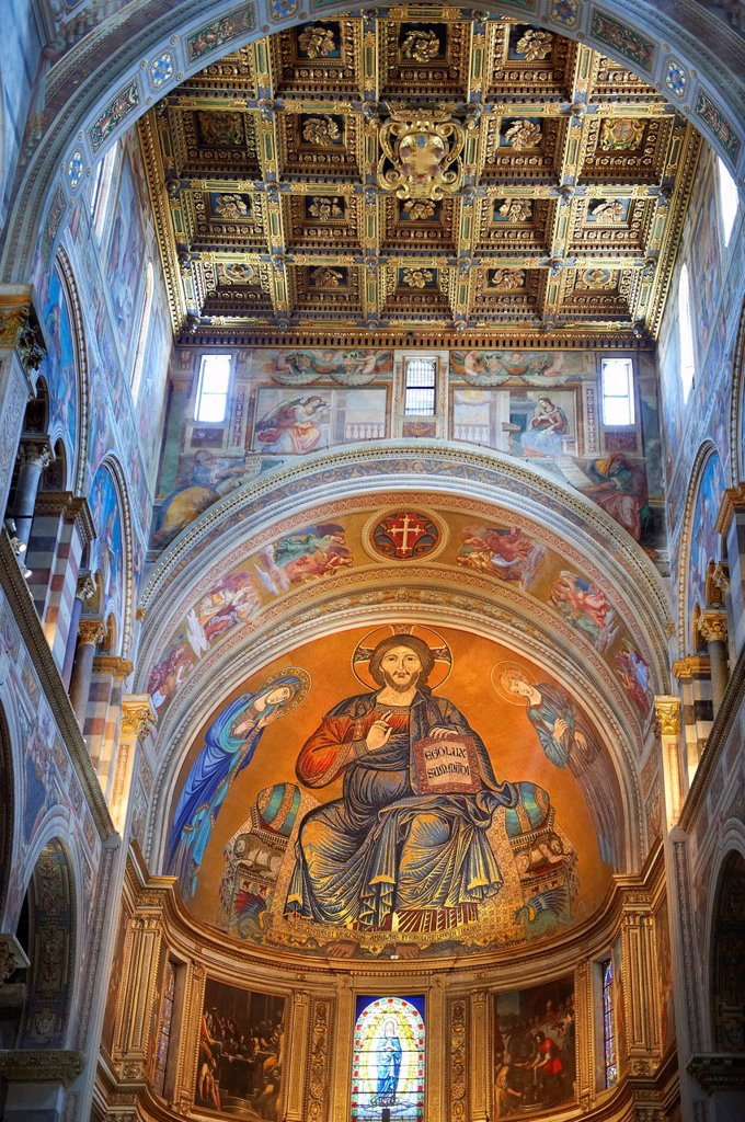 Stock Photo: 1566-1229928 Medieval Byzantine style mosaics of Christ in the interior of the Duomo, Pisa, Italy