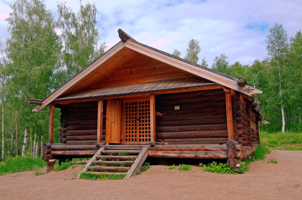Country wooden estate  ´Taltsa´s´ Talzy - Irkutsk architectural and ethnographic museum  Baikal, Siberia, Russian Federation : Stock Photo