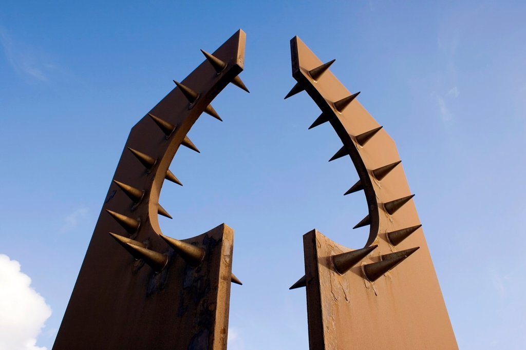 Stock Photo: 1566-1232155 Blackpool, Lancashire, England. South Promenade. Desire steel sculpture by Chris Knight