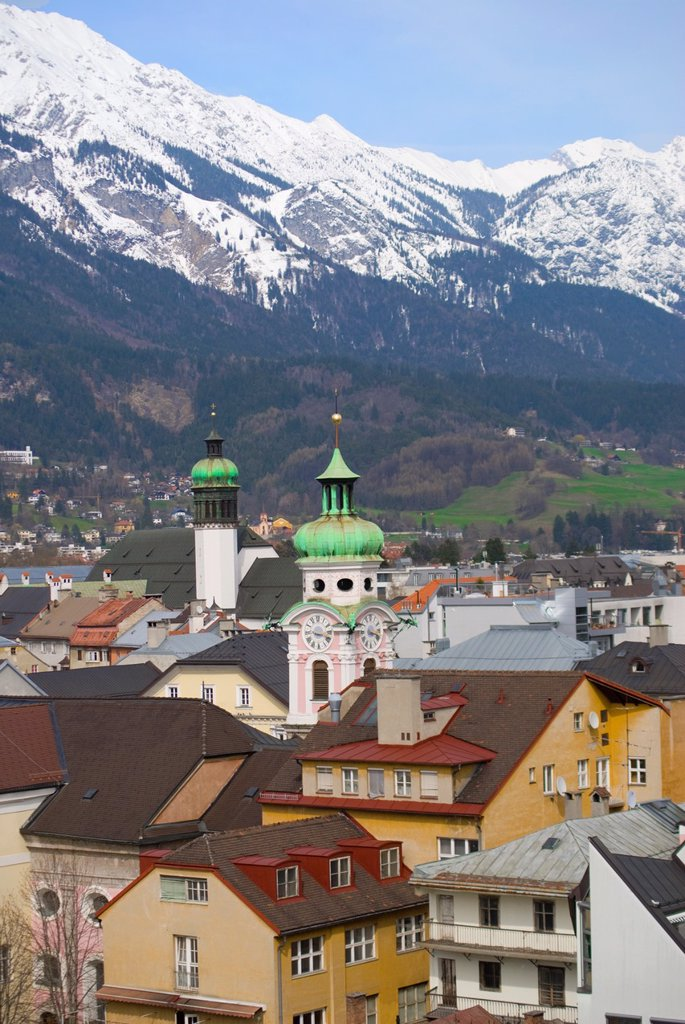 Innsbruck, Tirol, Austria  View over town to Mountains beyond : Stock Photo