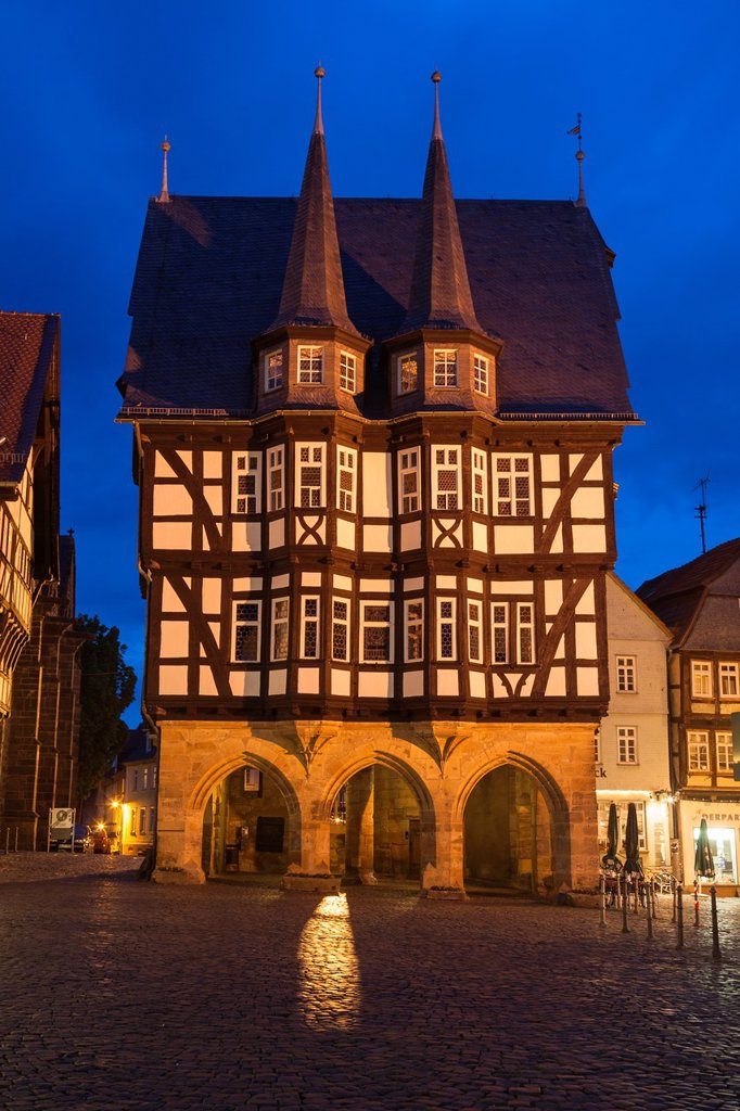 Stock Photo: 1566-1233649 The picturesque city hall in Alsfeld on the German Fairy Tale Route at night, Hesse, Germany, Europe
