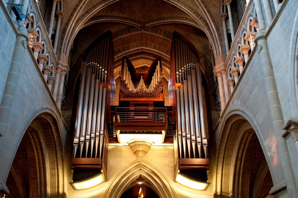 Organ of Notre Dame Cathedral Church, Lausanne, Switzerland, Europe : Stock Photo
