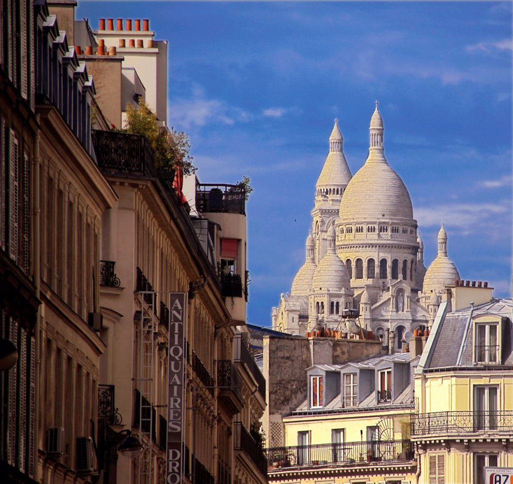 France-Paris- ´Sacré Coeur´ from rue Drouot, at Paris. : Stock Photo