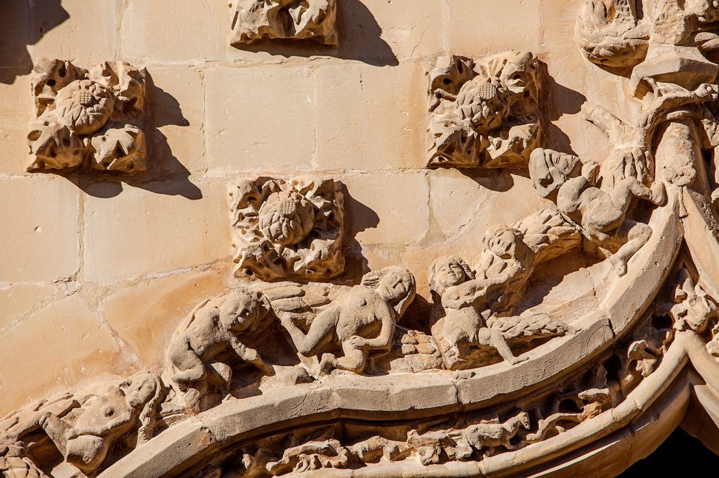 Stock Photo: 1566-1236001 Facade detail, Palacio de Jabalquinto 16th century, Baeza  Jaén province, Andalusia, Spain