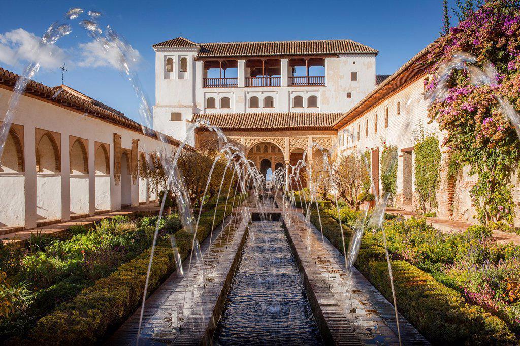 Stock Photo: 1566-1236020 Patio de la Acequia courtyard of irrigation ditch  El Generalife  La Alhambra  Granada  Andalusia