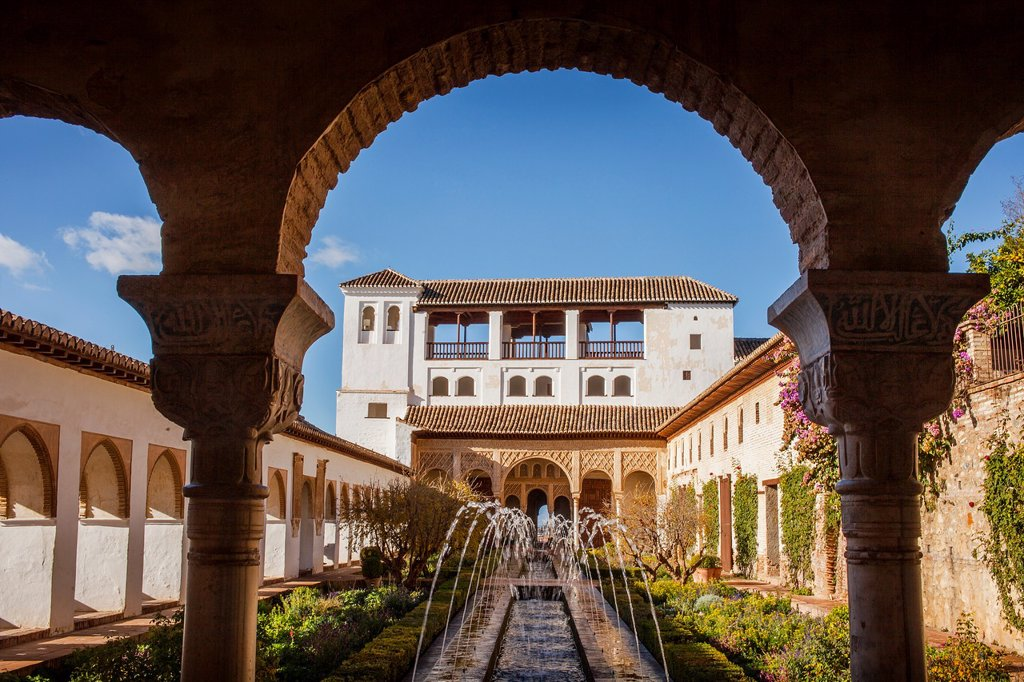 Stock Photo: 1566-1236021 Patio de la Acequia courtyard of irrigation ditch  El Generalife  La Alhambra  Granada  Andalusia
