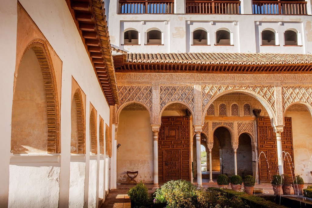 Stock Photo: 1566-1236027 Patio de la Acequia courtyard of irrigation ditch  El Generalife  La Alhambra  Granada  Andalusia