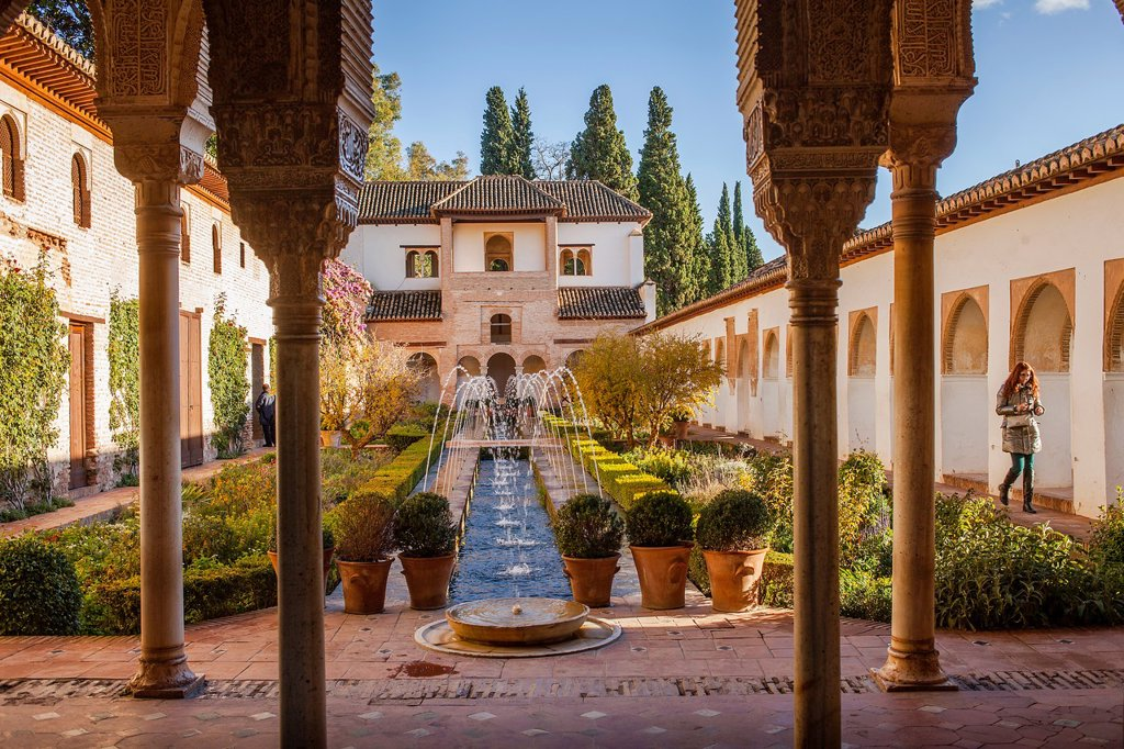 Stock Photo: 1566-1236044 Patio de la Acequia courtyard of irrigation ditch  El Generalife  La Alhambra  Granada  Andalusia