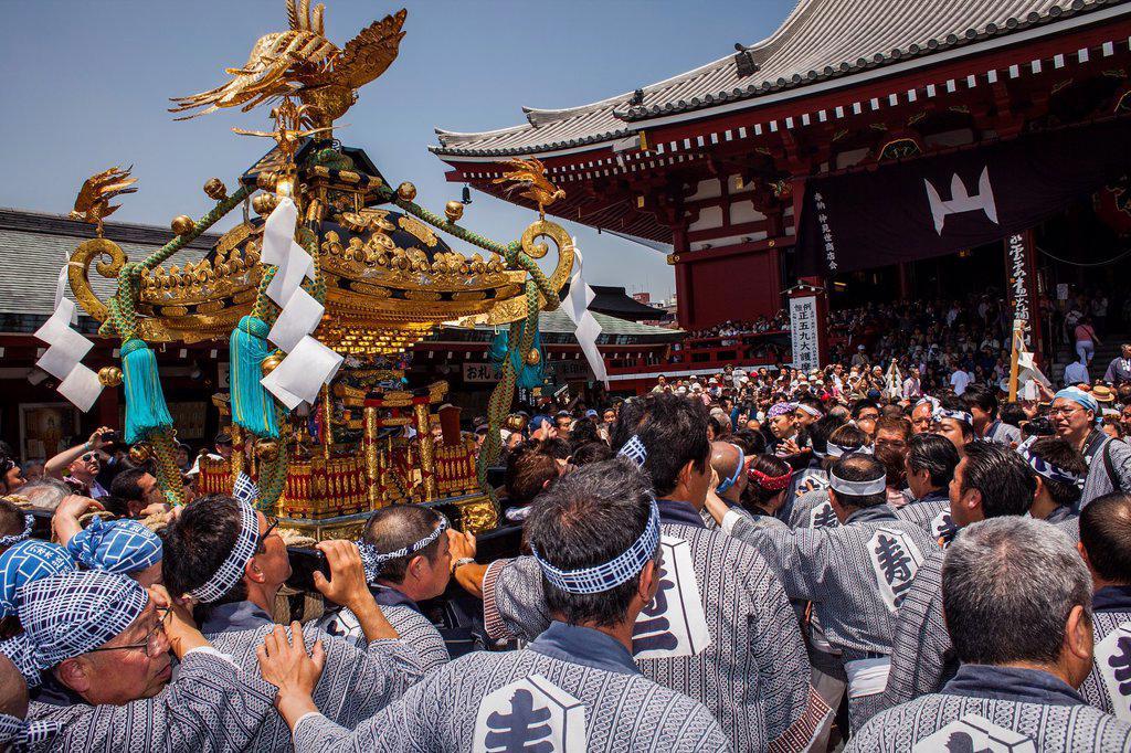 Stock Photo: 1566-1236080 Sanja Matsuri Festival, Sensoji Temple, Asakusa Jinja, Asakusa, Tokyo, Japan, Asia