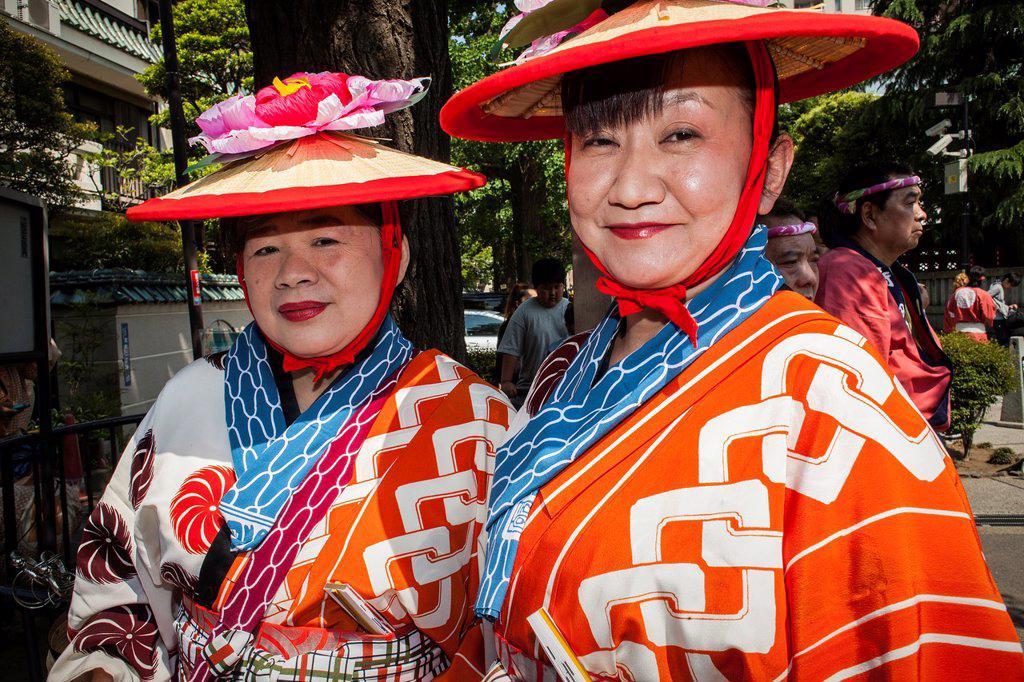 Parade participants, during Sanja Matsuri Festival, Sensoji Temple, Asakusa Jinja, Asakusa, Tokyo, Japan, Asia : Stock Photo